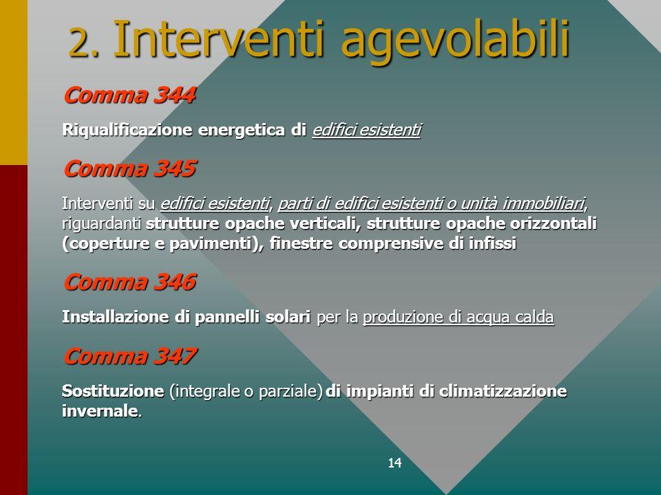 14 2. Interventi agevolabili Comma 344 Riqualificazione energetica di edifici esistenti Comma 345 Interventi su edifici esistenti, parti di edifici es
