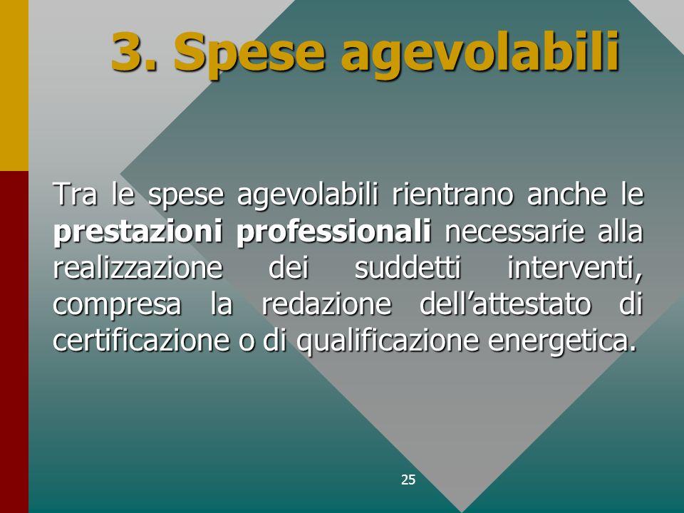 25 3. Spese agevolabili Tra le spese agevolabili rientrano anche le prestazioni professionali necessarie alla realizzazione dei suddetti interventi, c