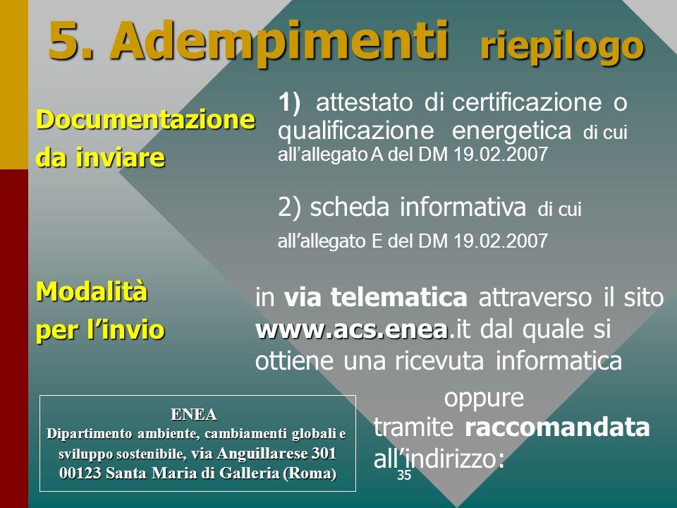 35 5. Adempimenti riepilogo Documentazione da inviare ENEA Dipartimento ambiente, cambiamenti globali e sviluppo sostenibile, via Anguillarese 301 001