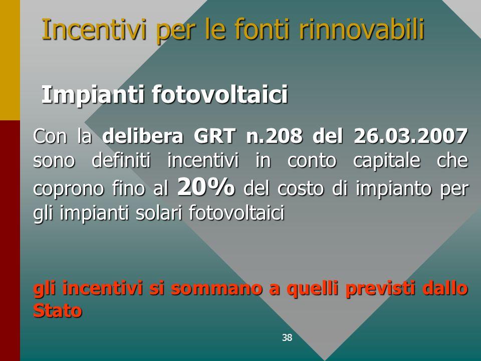 38 Con la delibera GRT n.208 del 26.03.2007 sono definiti incentivi in conto capitale che coprono fino al 20% del costo di impianto per gli impianti solari fotovoltaici gli incentivi si sommano a quelli previsti dallo Stato Incentivi per le fonti rinnovabili Impianti fotovoltaici
