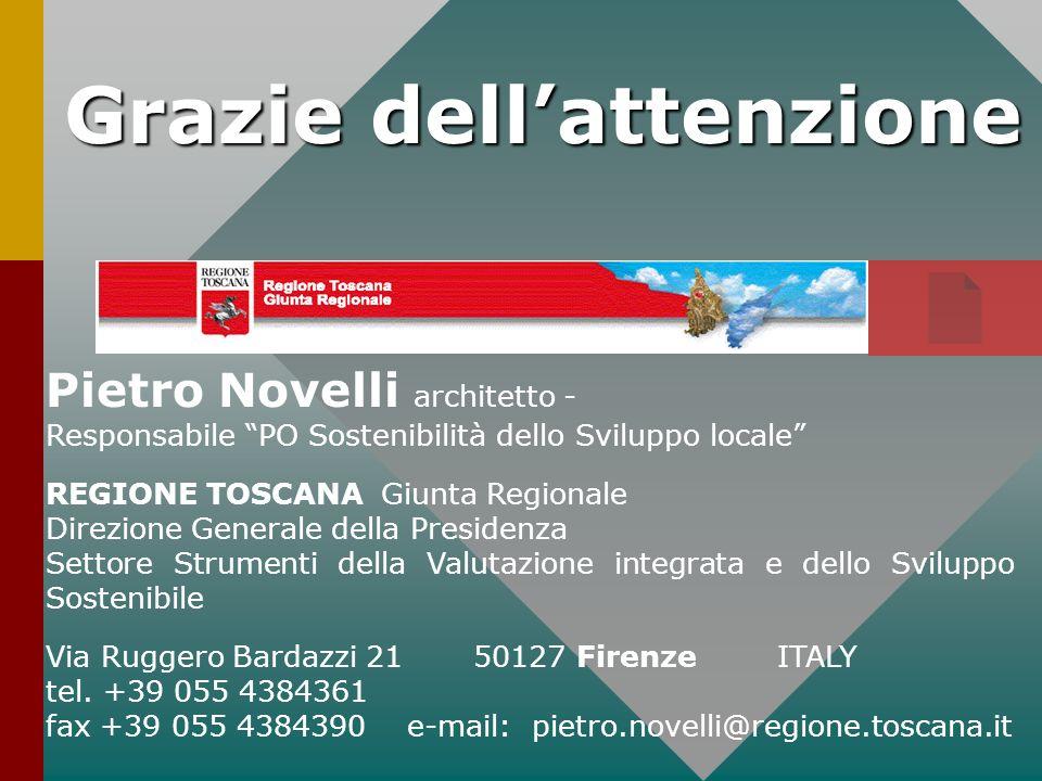 Grazie dellattenzione Pietro Novelli architetto - Responsabile PO Sostenibilità dello Sviluppo locale REGIONE TOSCANA Giunta Regionale Direzione Gener