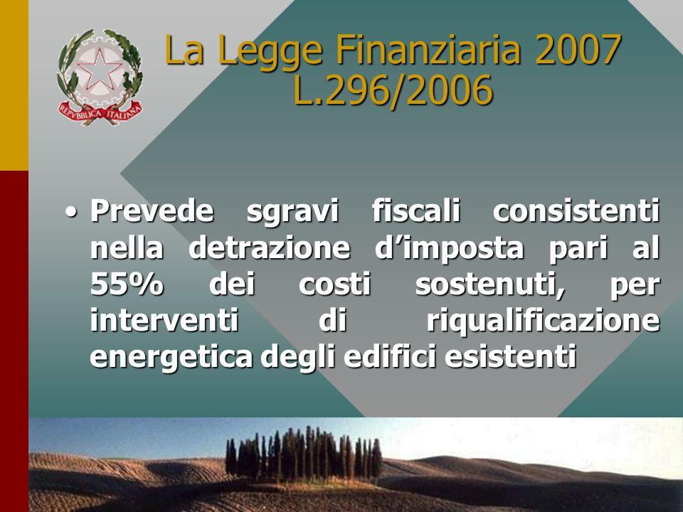 9 La Legge Finanziaria 2007 L.296/2006 Prevede sgravi fiscali consistenti nella detrazione dimposta pari al 55% dei costi sostenuti, per interventi di