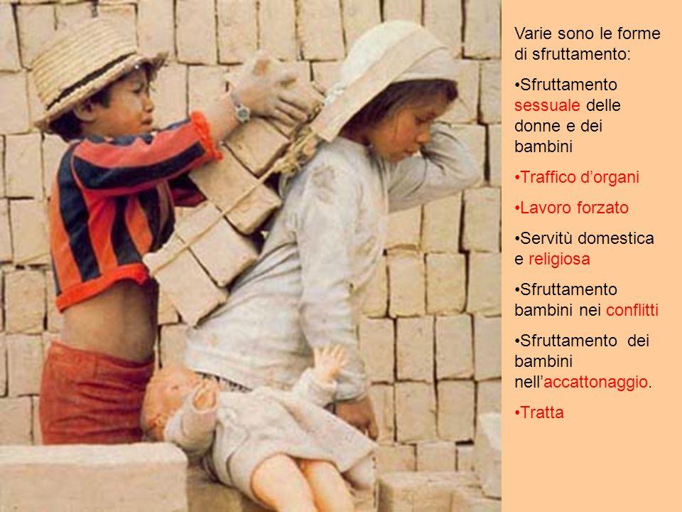 Varie sono le forme di sfruttamento: Sfruttamento sessuale delle donne e dei bambini Traffico dorgani Lavoro forzato Servitù domestica e religiosa Sfruttamento bambini nei conflitti Sfruttamento dei bambini nellaccattonaggio.