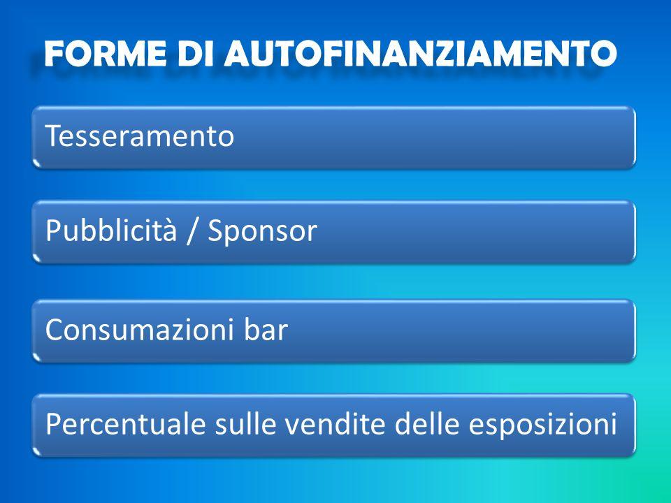TesseramentoPubblicità / SponsorConsumazioni barPercentuale sulle vendite delle esposizioni FORME DI AUTOFINANZIAMENTO