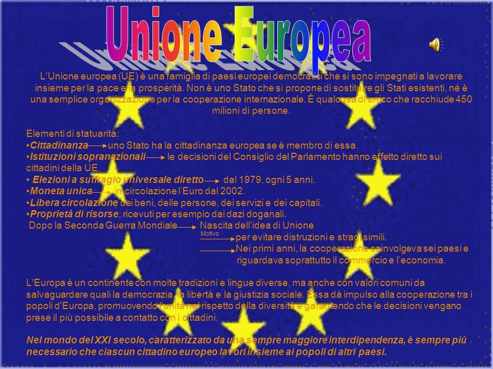 L'Unione europea (UE) è una famiglia di paesi europei democratici che si sono impegnati a lavorare insieme per la pace e la prosperità. Non è uno Stat