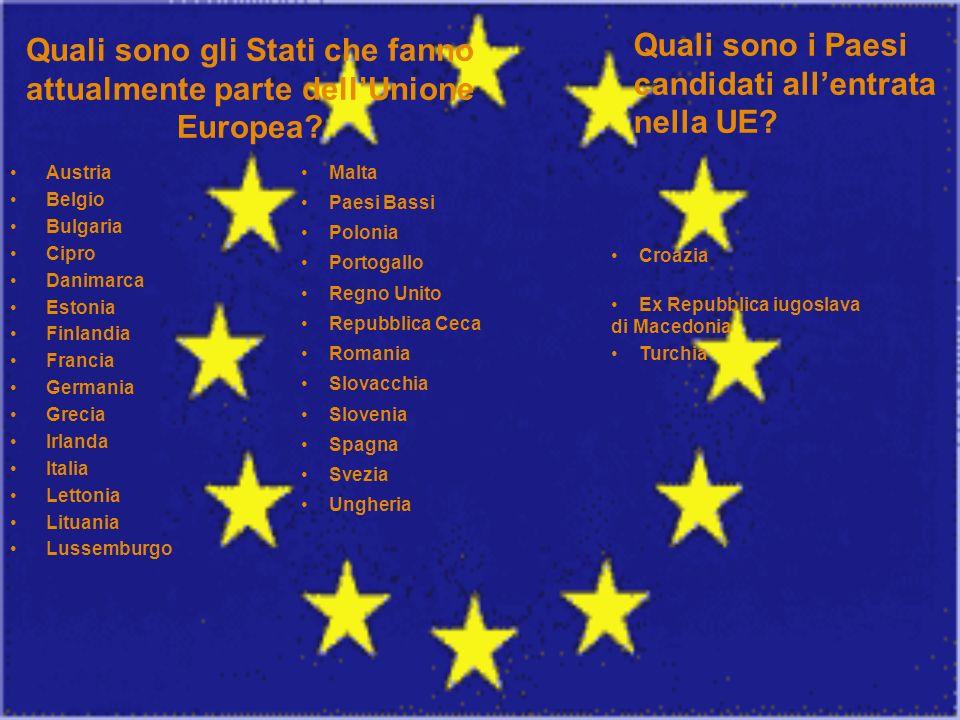 Quali sono gli Stati che fanno attualmente parte dellUnione Europea? Austria Belgio Bulgaria Cipro Danimarca Estonia Finlandia Francia Germania Grecia