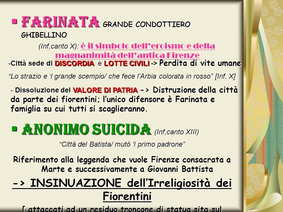 FARINATA GRANDE CONDOTTIERO GHIBELLINO FARINATA GRANDE CONDOTTIERO GHIBELLINO (Inf,canto X): (Inf,canto X): è il simbolo delleroismo e della magnanimi