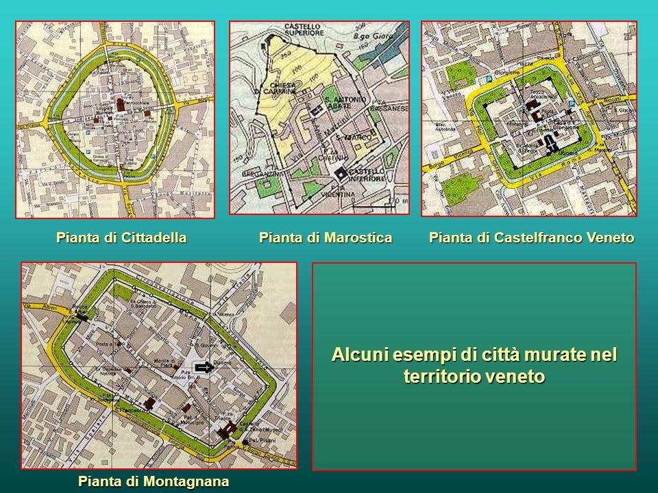 Esempi di città medievali : Monteriggioni - cinta muraria 1212 - 19 San Gimignano e le case torri - veduta Vicolo medievale di Assisi Le mura di Caste