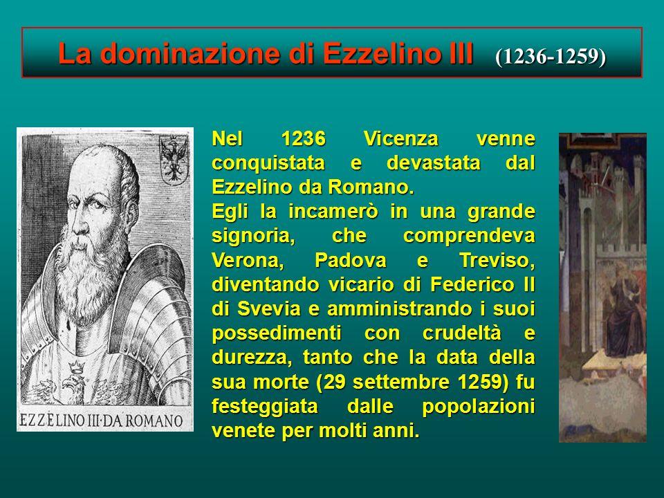 Vicenza gotica dal 1200 al 1400 Nel 1220-1330 assistiamo alla grande crescita del Comune. La città conta 6000 abitanti. Si sviluppa il ceto borghese,