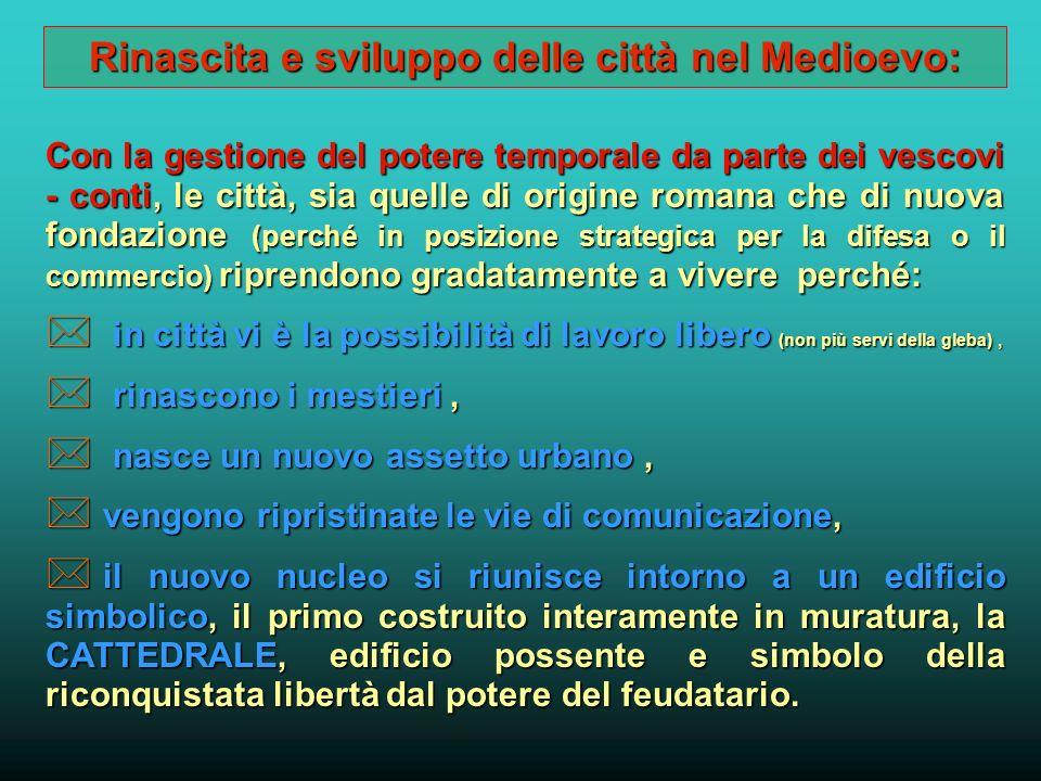Lo schema di sviluppo politico del Comune Aumenta il potere vescovile, con diritto di fortificazione delle città (X sec.)Aumenta il potere vescovile,