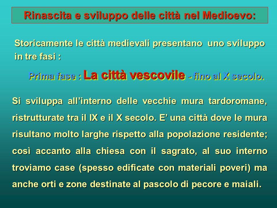 Rinascita e sviluppo delle città nel Medioevo: Con la gestione del potere temporale da parte dei vescovi - conti, le città, sia quelle di origine roma