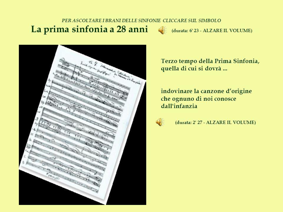 PER ASCOLTARE I BRANI DELLE SINFONIE CLICCARE SUL SIMBOLO La prima sinfonia a 28 anni (durata: 6' 23 - ALZARE IL VOLUME) Terzo tempo della Prima Sinfo