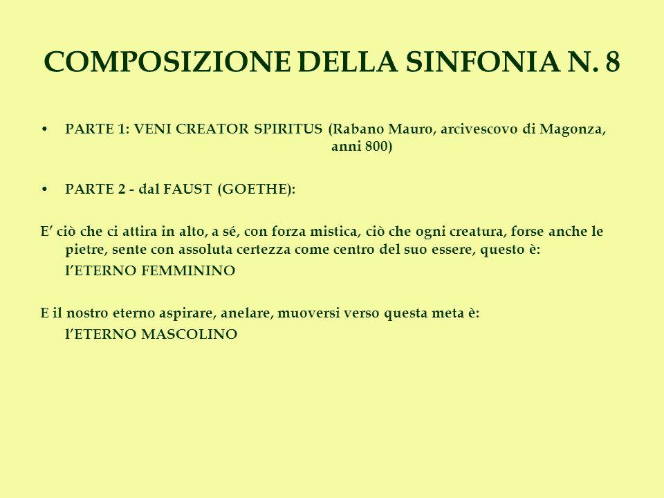 PARTE 1: VENI CREATOR SPIRITUS (Rabano Mauro, arcivescovo di Magonza, anni 800) PARTE 2 - dal FAUST (GOETHE): E ciò che ci attira in alto, a sé, con f