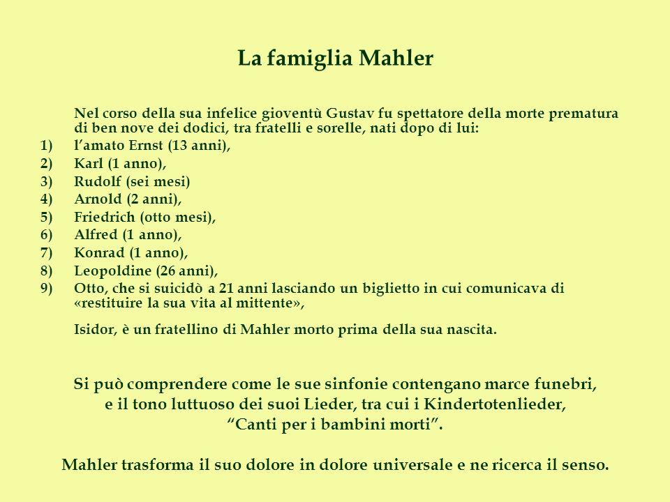 La famiglia Mahler Nel corso della sua infelice gioventù Gustav fu spettatore della morte prematura di ben nove dei dodici, tra fratelli e sorelle, na