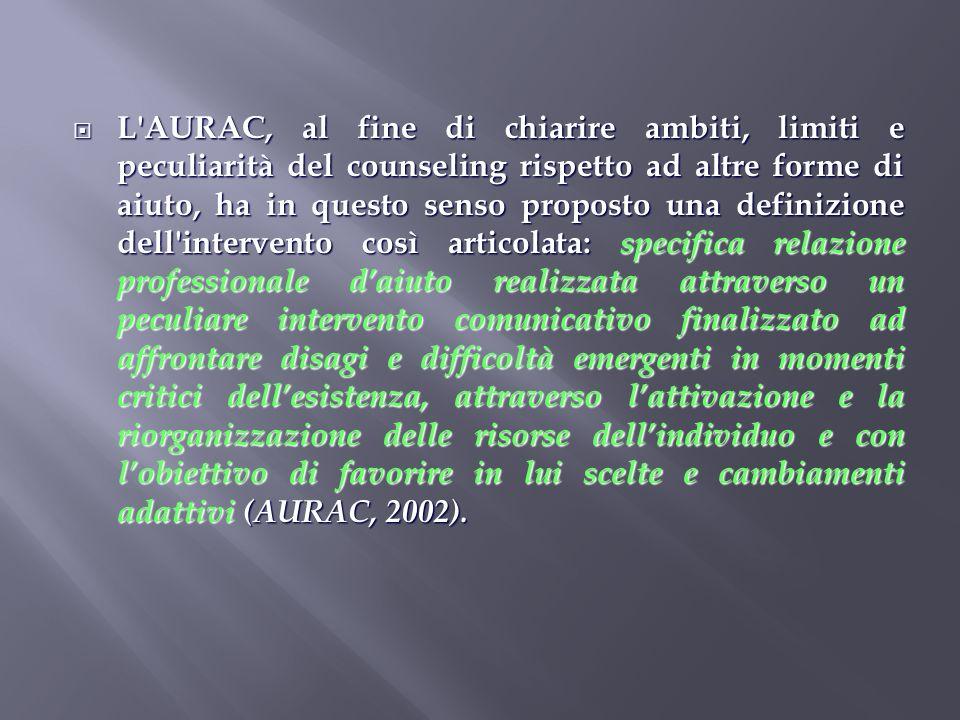 L'AURAC, al fine di chiarire ambiti, limiti e peculiarità del counseling rispetto ad altre forme di aiuto, ha in questo senso proposto una definizione