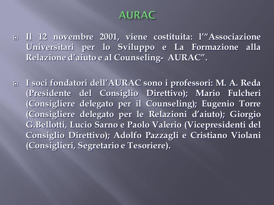 Il 12 novembre 2001, viene costituita: lAssociazione Universitari per lo Sviluppo e La Formazione alla Relazione daiuto e al Counseling- AURAC. Il 12