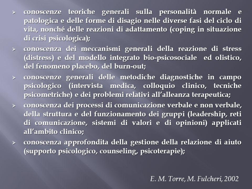 conoscenze teoriche generali sulla personalità normale e patologica e delle forme di disagio nelle diverse fasi del ciclo di vita, nonché delle reazio