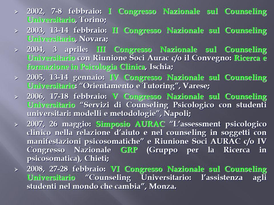 2002, 7-8 febbraio: I Congresso Nazionale sul Counseling Universitario, Torino; 2002, 7-8 febbraio: I Congresso Nazionale sul Counseling Universitario
