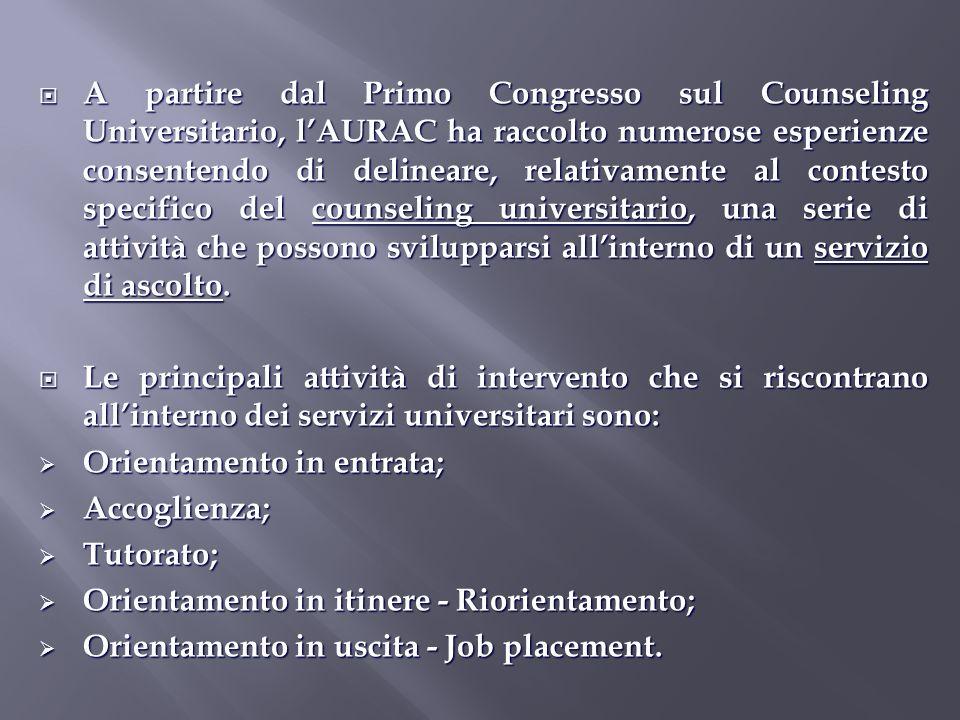 A partire dal Primo Congresso sul Counseling Universitario, lAURAC ha raccolto numerose esperienze consentendo di delineare, relativamente al contesto