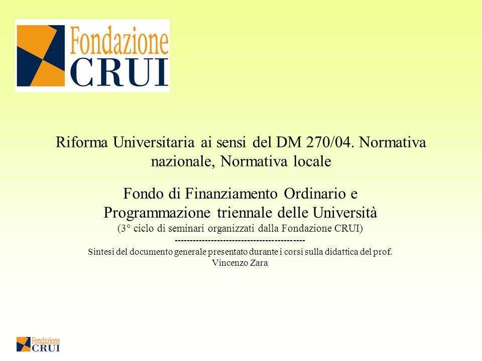 Riforma Universitaria ai sensi del DM 270/04.