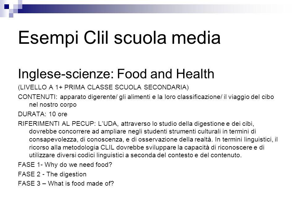 Esempi Clil scuola media Inglese-scienze: Food and Health (LIVELLO A 1+ PRIMA CLASSE SCUOLA SECONDARIA) CONTENUTI: apparato digerente/ gli alimenti e