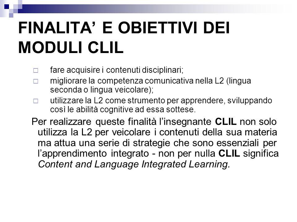 FINALITA E OBIETTIVI DEI MODULI CLIL fare acquisire i contenuti disciplinari; migliorare la competenza comunicativa nella L2 (lingua seconda o lingua