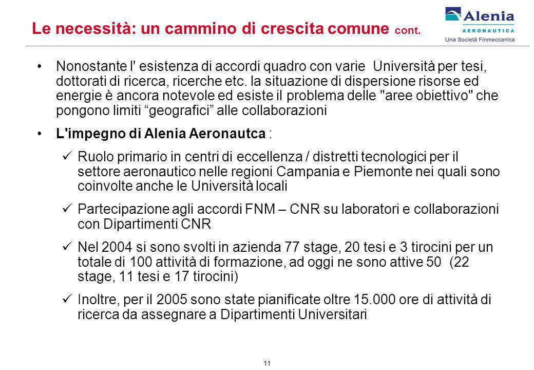 11 Nonostante l' esistenza di accordi quadro con varie Università per tesi, dottorati di ricerca, ricerche etc. la situazione di dispersione risorse e