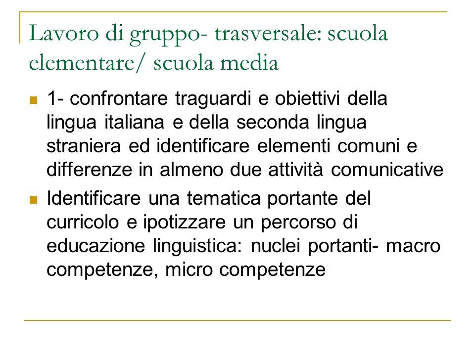 Lavoro di gruppo- trasversale: scuola elementare/ scuola media 1- confrontare traguardi e obiettivi della lingua italiana e della seconda lingua stran