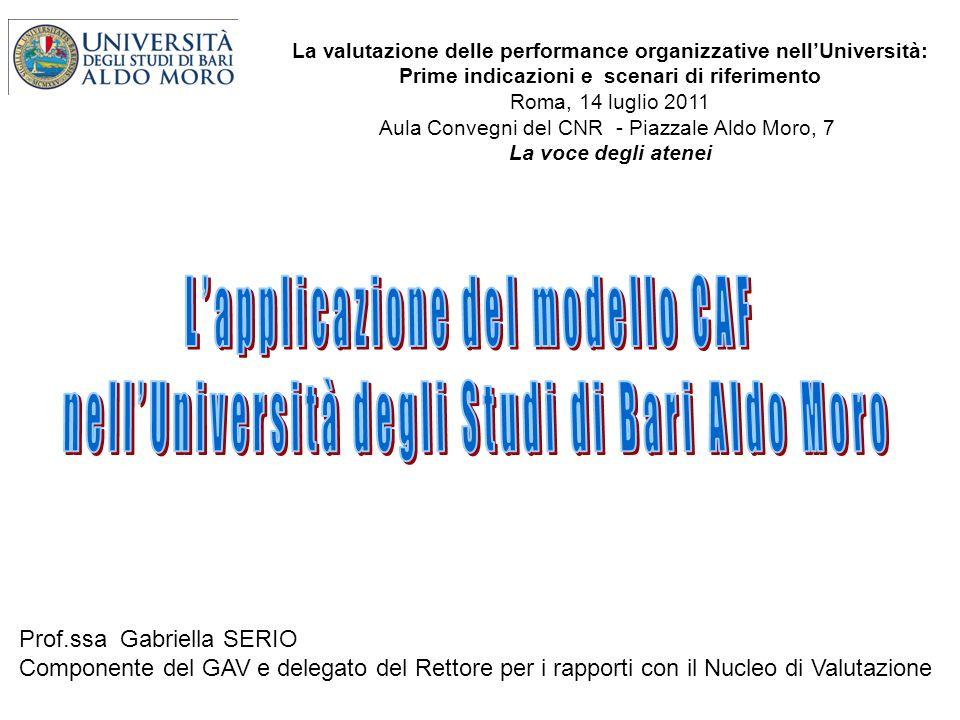 La valutazione delle performance organizzative nellUniversità: Prime indicazioni e scenari di riferimento Roma, 14 luglio 2011 Aula Convegni del CNR -