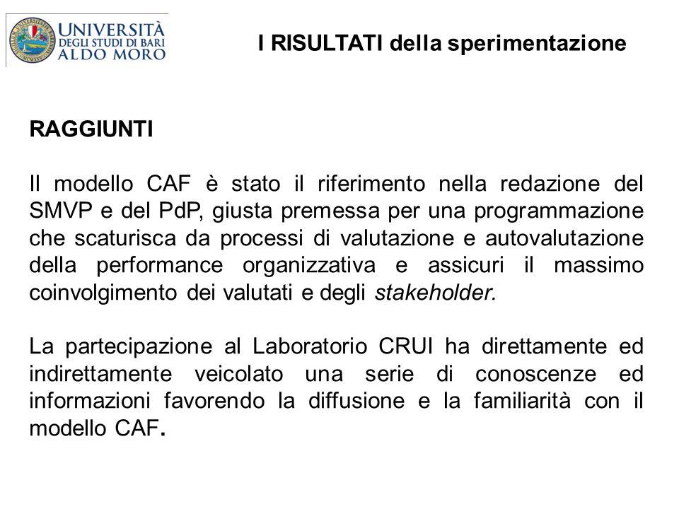 I RISULTATI della sperimentazione RAGGIUNTI Il modello CAF è stato il riferimento nella redazione del SMVP e del PdP, giusta premessa per una programm