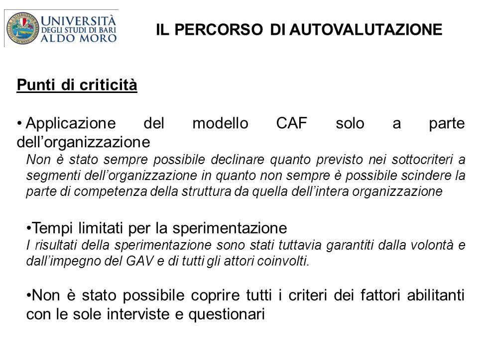 IL PERCORSO DI AUTOVALUTAZIONE Punti di criticità Applicazione del modello CAF solo a parte dellorganizzazione Non è stato sempre possibile declinare