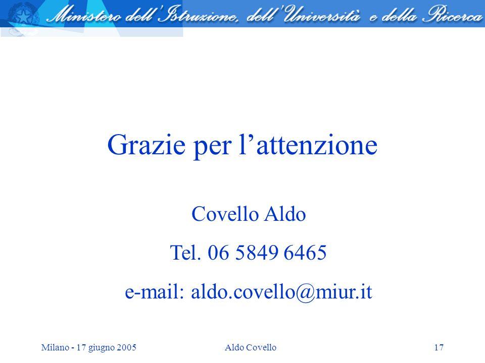 Milano - 17 giugno 2005Aldo Covello17 Grazie per lattenzione Covello Aldo Tel. 06 5849 6465 e-mail: aldo.covello@miur.it