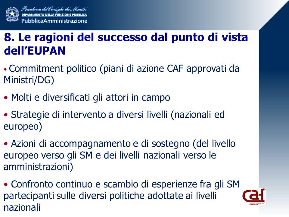 8. Le ragioni del successo dal punto di vista dellEUPAN Commitment politico (piani di azione CAF approvati da Ministri/DG) Molti e diversificati gli a
