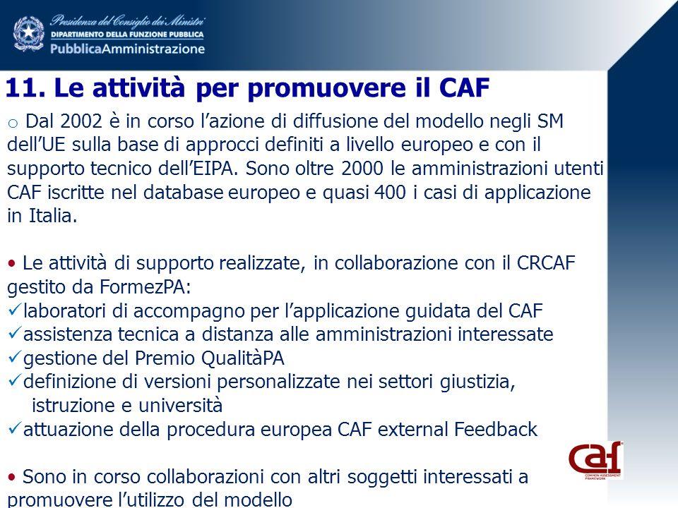 11. Le attività per promuovere il CAF o Dal 2002 è in corso lazione di diffusione del modello negli SM dellUE sulla base di approcci definiti a livell