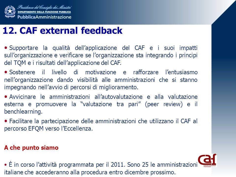 12. CAF external feedback Supportare la qualità dellapplicazione del CAF e i suoi impatti sullorganizzazione e verificare se lorganizzazione sta integ