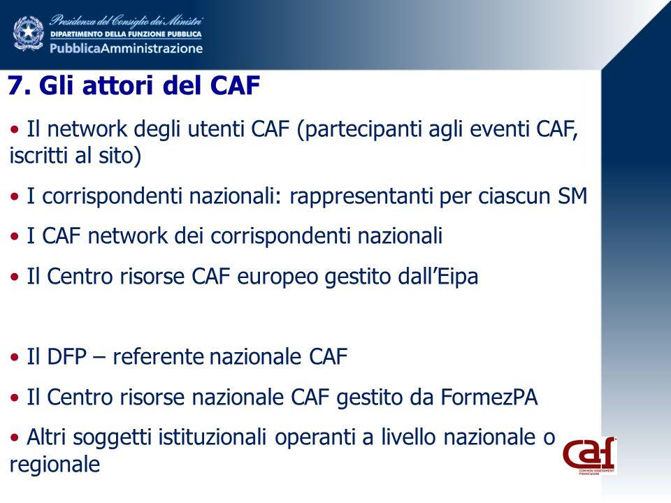 7. Gli attori del CAF Il network degli utenti CAF (partecipanti agli eventi CAF, iscritti al sito) I corrispondenti nazionali: rappresentanti per cias
