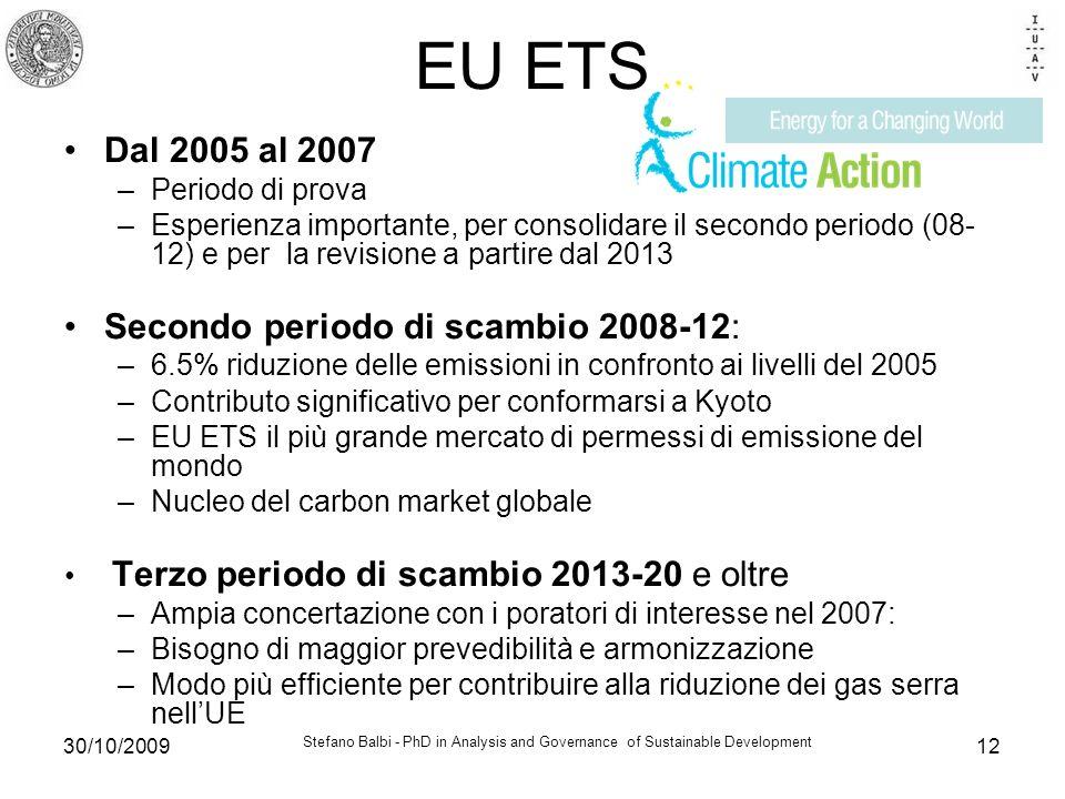 Stefano Balbi - PhD in Analysis and Governance of Sustainable Development 30/10/200912 EU ETS Dal 2005 al 2007 –Periodo di prova –Esperienza importante, per consolidare il secondo periodo (08- 12) e per la revisione a partire dal 2013 Secondo periodo di scambio 2008-12: –6.5% riduzione delle emissioni in confronto ai livelli del 2005 –Contributo significativo per conformarsi a Kyoto –EU ETS il più grande mercato di permessi di emissione del mondo –Nucleo del carbon market globale Terzo periodo di scambio 2013-20 e oltre –Ampia concertazione con i poratori di interesse nel 2007: –Bisogno di maggior prevedibilità e armonizzazione –Modo più efficiente per contribuire alla riduzione dei gas serra nellUE