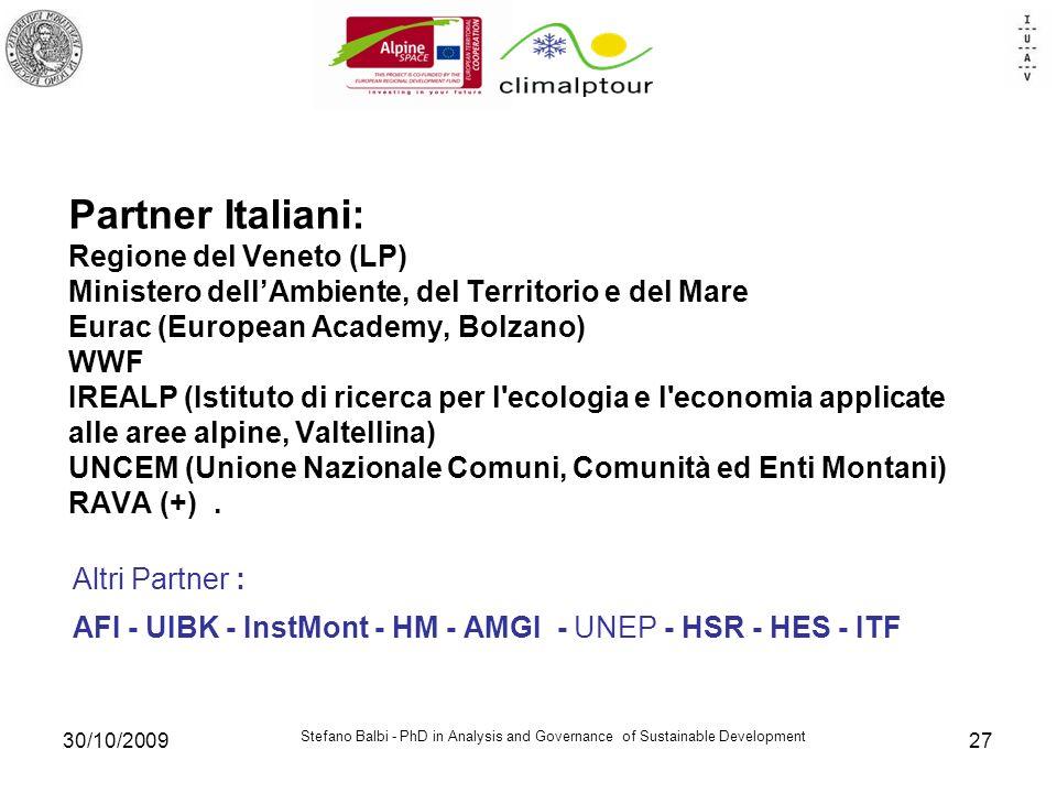 Stefano Balbi - PhD in Analysis and Governance of Sustainable Development 30/10/200927 Partner Italiani: Regione del Veneto (LP) Ministero dellAmbient