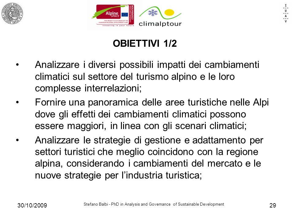 Stefano Balbi - PhD in Analysis and Governance of Sustainable Development 30/10/200929 OBIETTIVI 1/2 Analizzare i diversi possibili impatti dei cambia