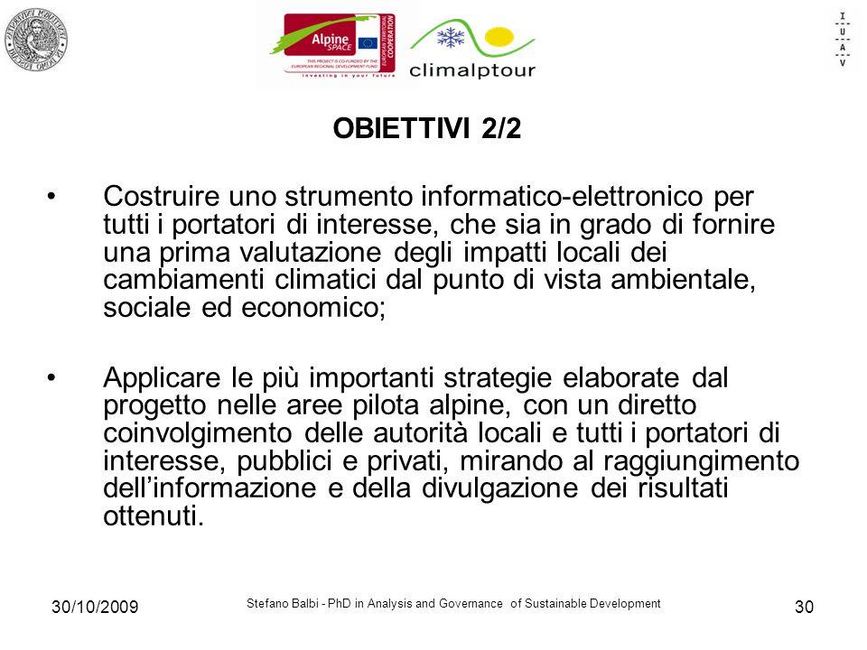 Stefano Balbi - PhD in Analysis and Governance of Sustainable Development 30/10/200930 OBIETTIVI 2/2 Costruire uno strumento informatico-elettronico p