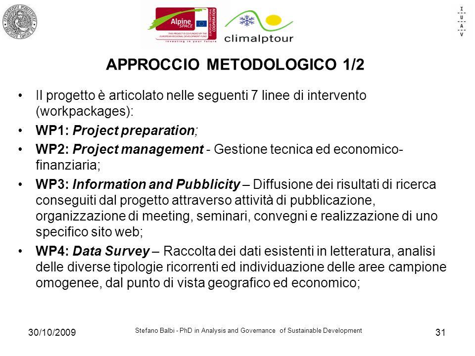 Stefano Balbi - PhD in Analysis and Governance of Sustainable Development 30/10/200931 APPROCCIO METODOLOGICO 1/2 Il progetto è articolato nelle segue