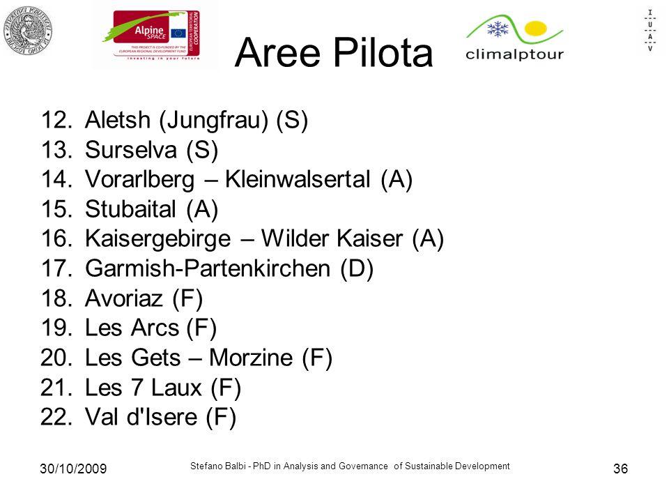 Stefano Balbi - PhD in Analysis and Governance of Sustainable Development 30/10/200936 Aree Pilota 12.Aletsh (Jungfrau) (S) 13.Surselva (S) 14.Vorarlberg – Kleinwalsertal (A) 15.Stubaital (A) 16.Kaisergebirge – Wilder Kaiser (A) 17.Garmish-Partenkirchen (D) 18.Avoriaz (F) 19.Les Arcs (F) 20.Les Gets – Morzine (F) 21.Les 7 Laux (F) 22.Val d Isere (F)