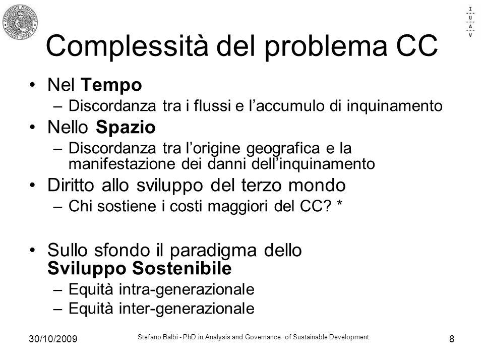 Stefano Balbi - PhD in Analysis and Governance of Sustainable Development 30/10/20098 Complessità del problema CC Nel Tempo –Discordanza tra i flussi