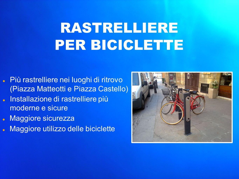 Più rastrelliere nei luoghi di ritrovo (Piazza Matteotti e Piazza Castello) Installazione di rastrelliere più moderne e sicure Maggiore sicurezza Magg