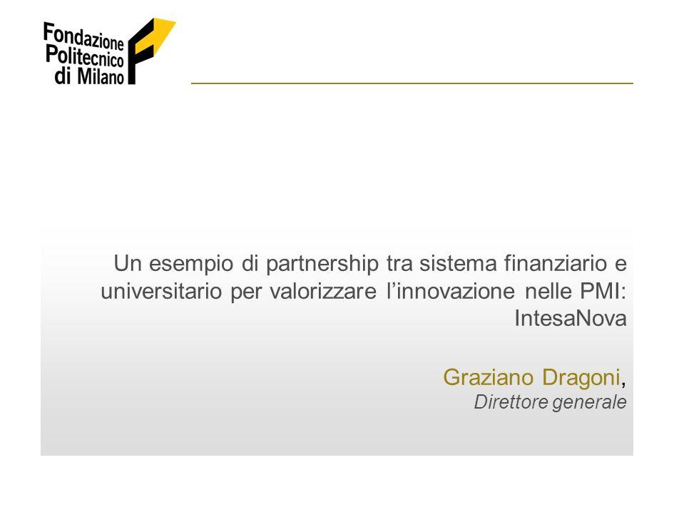 Un esempio di partnership tra sistema finanziario e universitario per valorizzare linnovazione nelle PMI: IntesaNova Graziano Dragoni, Direttore gener