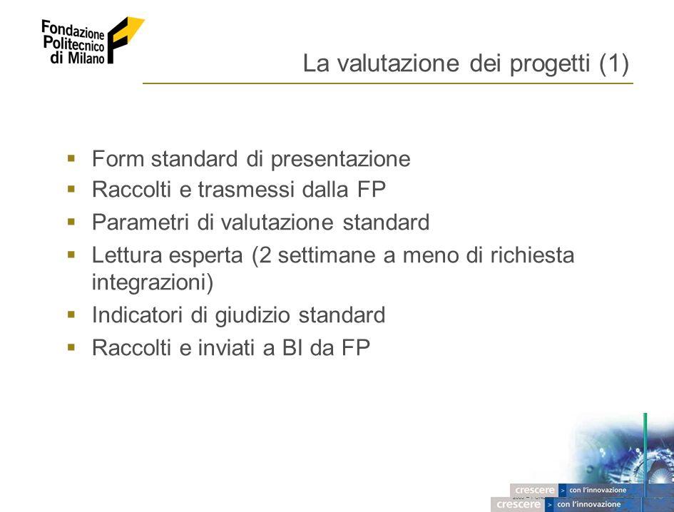 2005 – FONDAZIONE POLITECNICO DI MILANO 13 La valutazione dei progetti (1) Form standard di presentazione Raccolti e trasmessi dalla FP Parametri di valutazione standard Lettura esperta (2 settimane a meno di richiesta integrazioni) Indicatori di giudizio standard Raccolti e inviati a BI da FP