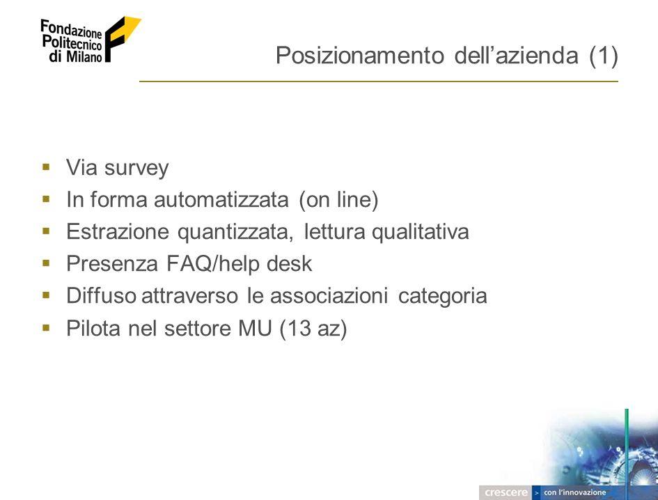 2005 – FONDAZIONE POLITECNICO DI MILANO 7 Posizionamento dellazienda (1) Via survey In forma automatizzata (on line) Estrazione quantizzata, lettura q