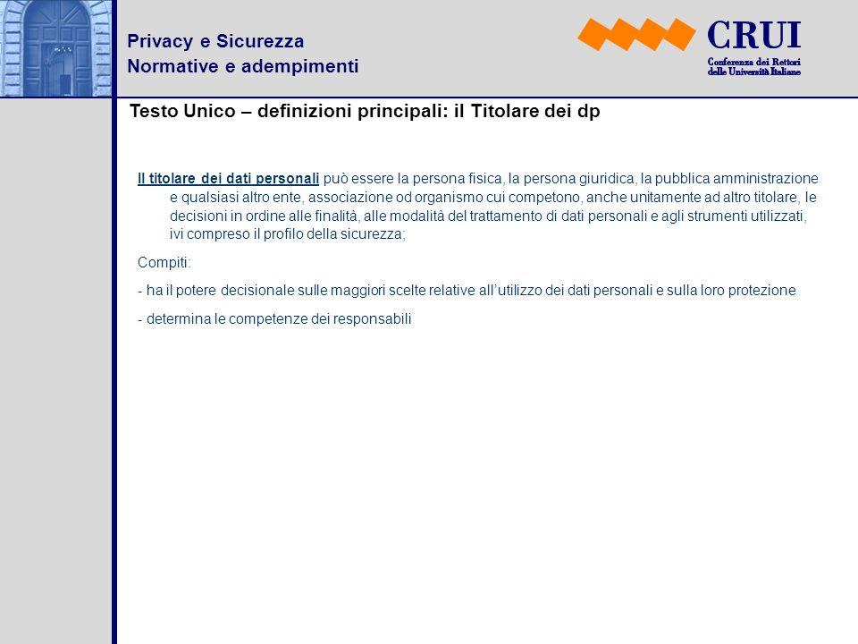 Privacy e Sicurezza Normative e adempimenti Testo Unico – definizioni principali: il Titolare dei dp Il titolare dei dati personali può essere la pers