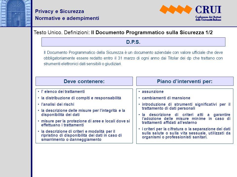 Privacy e Sicurezza Normative e adempimenti Testo Unico. Definizioni: Il Documento Programmatico sulla Sicurezza 1/2 D.P.S. Il Documento Programmatico