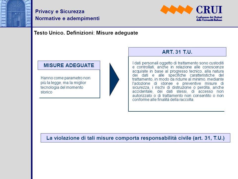 Privacy e Sicurezza Normative e adempimenti Testo Unico. Definizioni: Misure adeguate MISURE ADEGUATE Hanno come parametro non più la legge, ma la mig